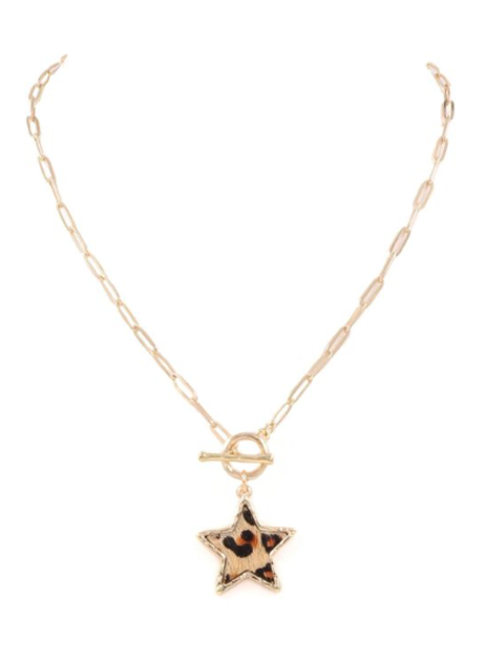Initial Styles Leopard Star Toggle Necklace