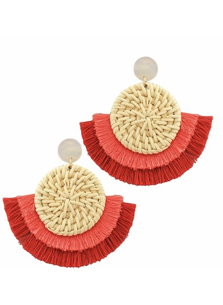 Golden Stella Rattan Disk Earrings With Red Fringe