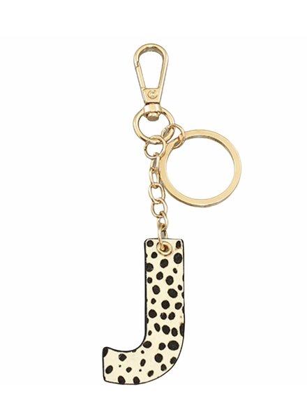Golden Stella Leopard Print Initial Key Chain