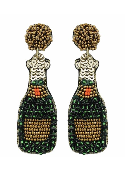 Initial Styles Green Sequin Champagne Bottle Earrings