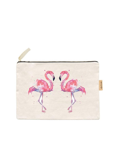 Initial Styles Watercolor Flamingo Zip Pouch