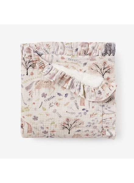 Elegant Baby Floral Muslin Blanket w/ Fur Back