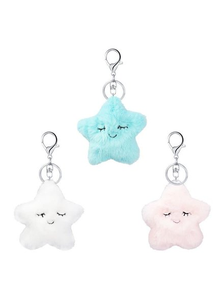 Initial Styles Furry Star Keychains - 3 Color Choices