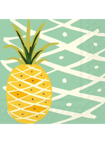 Boston International Teal Tropical Pineapple Cocktail Napkins