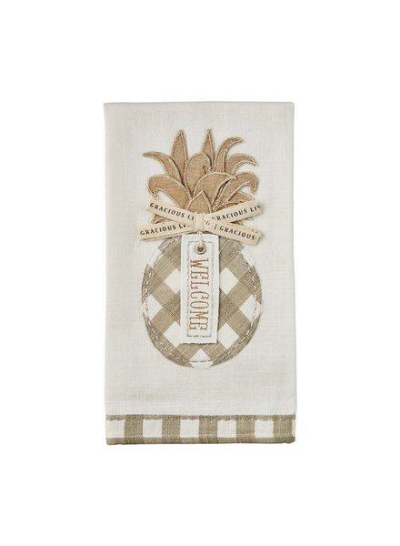Mudpie Welcome Pineapple Applique Towel