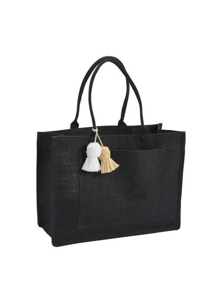 Mudpie Black Jute Tote Bag