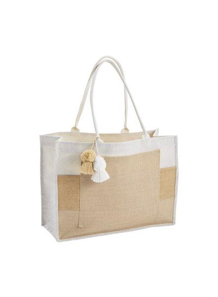 Mudpie Color Block Jute Tote Bag