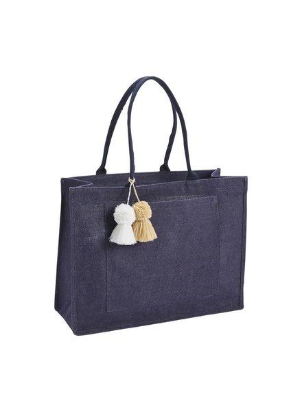 Mudpie Navy Blue Jute Tote Bag
