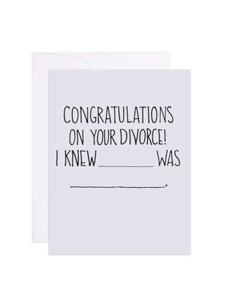 9th Letter Press 9th Letter Press Greeting Card - Congratulations On Your Divorce
