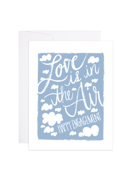 9th Letter Press Love Is In The Air Engagement Greeting Card