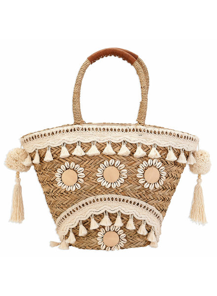 Sun & Sand Seagrass Embellished Tote With Tassels