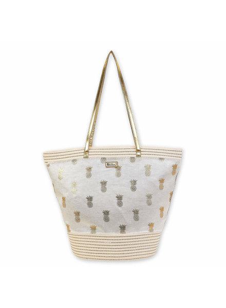 Sun & Sand Gold Metallic Pineapple Bag