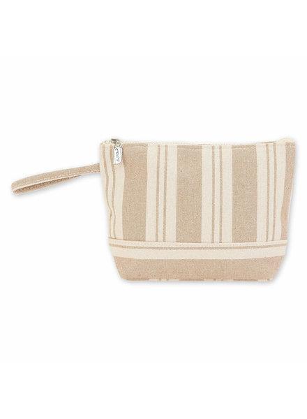 Sun & Sand Beige Striped Wristlet