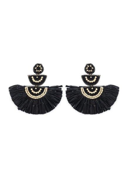 Initial Styles Black Bead & Raffia Fan Earrings