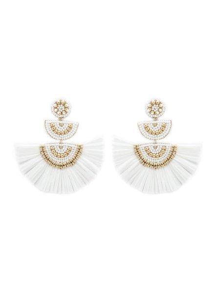 Initial Styles White & Gold Bead & Raffia Fan Earrings