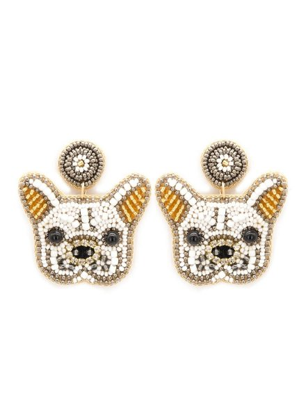 Initial Styles French Bull Dog Seed Bead Earrings