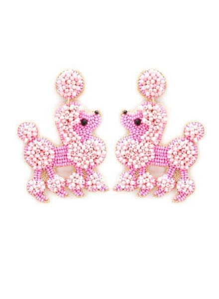 Initial Styles Pink Poodle Seed Bead Earrings