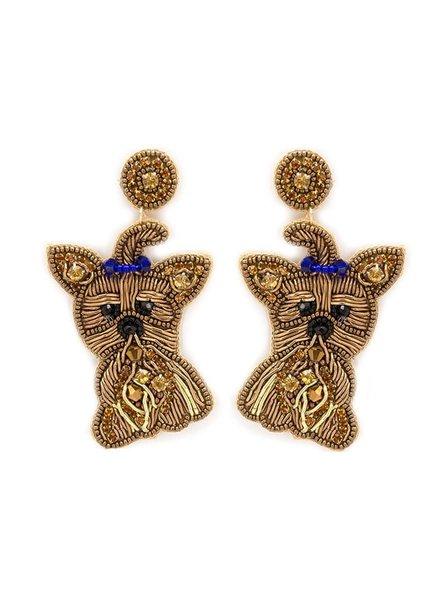 Initial Styles Yorkie Seed Bead Earrings