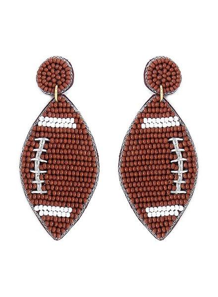 Initial Styles Seed Bead Football Earrings