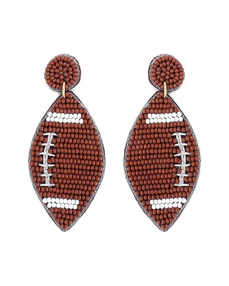 Initial Styles Seed Bead Earrings - Football