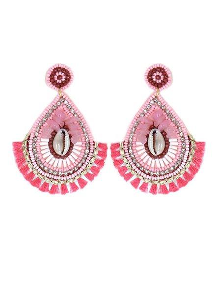 Initial Styles Hot Pink Bead & Cowry Shell Teardrop Earrings