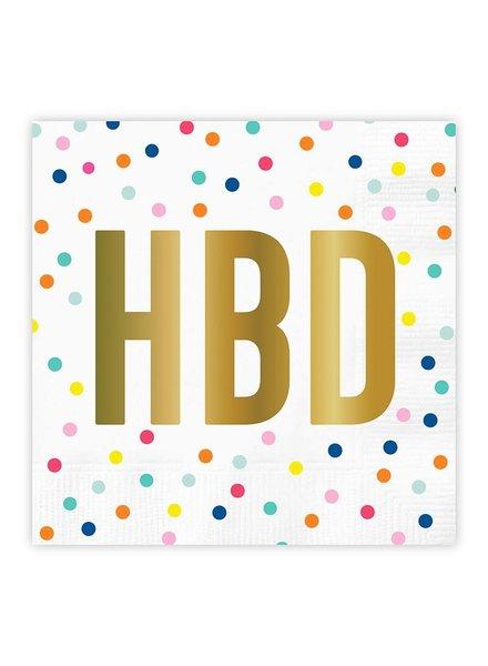 Slant HBD Happy Birthday Cocktail Napkins