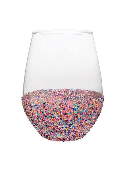 Slant Sprinkle Bottom Stemless Wine Glass