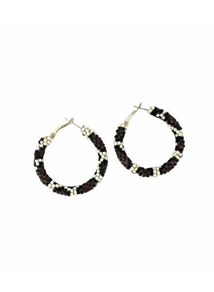 Initial Styles Leopard  Hoop Seed Bead Earrings