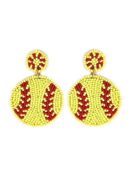 Initial Styles Softball Beaded Earrings