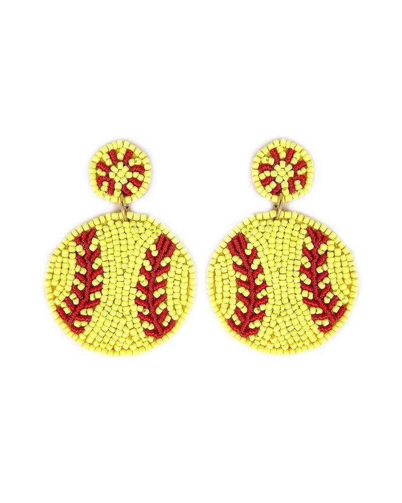 Initial Styles Seed Bead Earrings - Softball