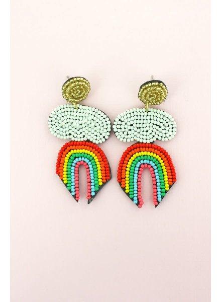 Initial Styles WAM Seed Bead Earrings - Rainbow & Cloud