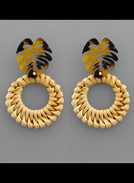Golden Stella Tortoise Leaf & Rattan Circle Earrings