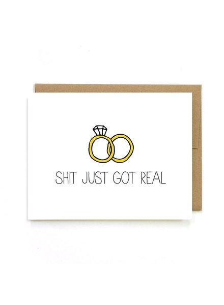 Unblushing Shit Just Got Real Wedding Card
