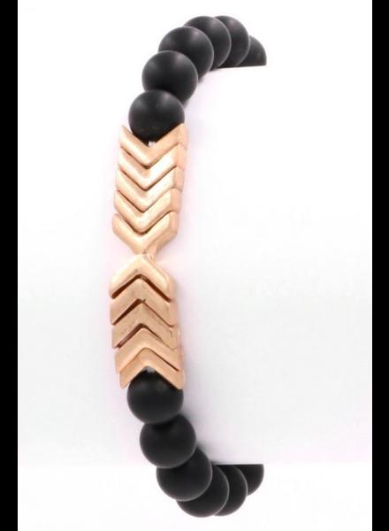 Art Box Black Bead + Arrow Elastic Bracelet