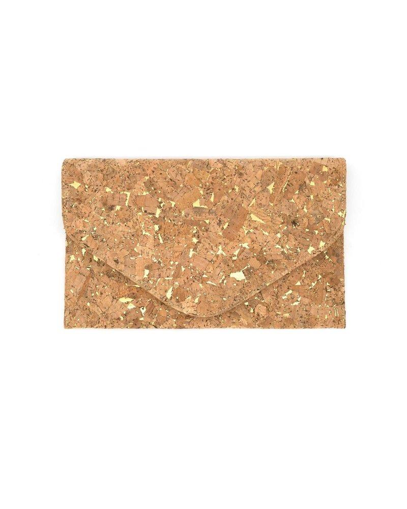 Cork & Gold Envelope Clutch