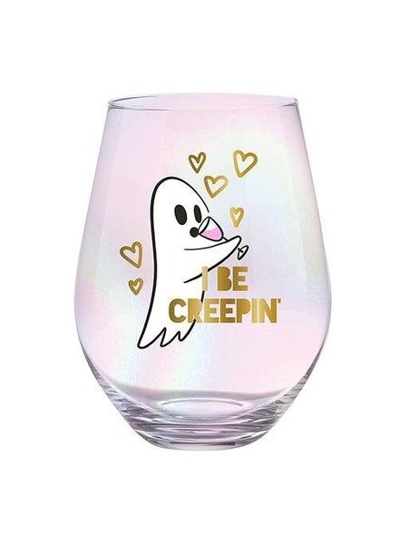 Slant Slant Stemless Wine Glass - I Be Creepin Ghost