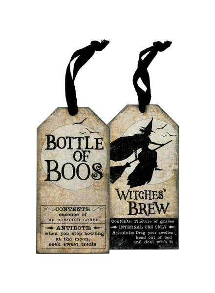 Primitives By Kathy Witches Brew Wine Bottle Tag