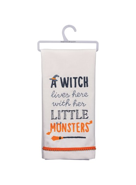 Primitives By Kathy Witch Lives Here With Little Monsters Towel
