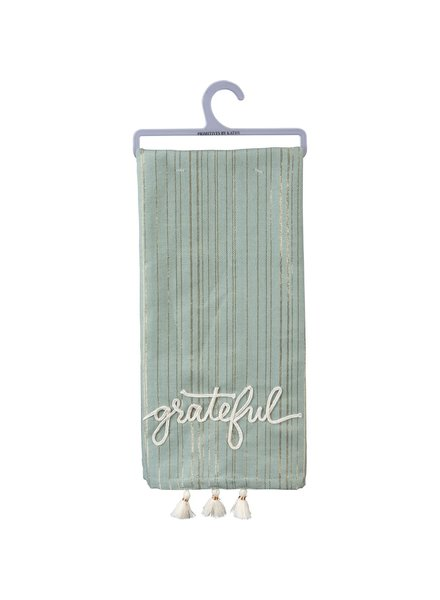 Primitives By Kathy Grateful Tassel Tea Towel