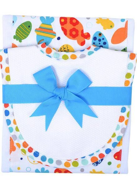 3 Marthas Shark Smiles Drooler Bib & Burp Set