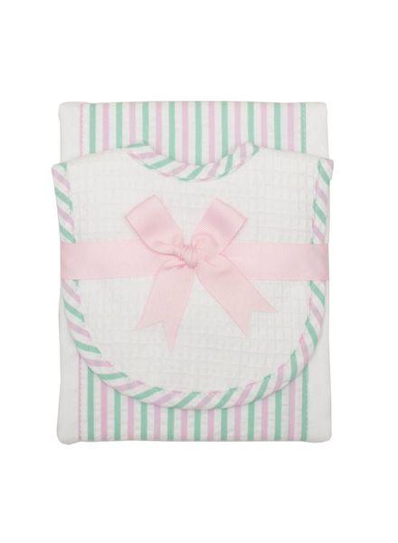 3 Marthas Pink & Green Drooler Bib & Burp  Set