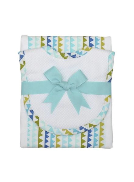3 Marthas Green & Blue Drooler Bib & Burp Set