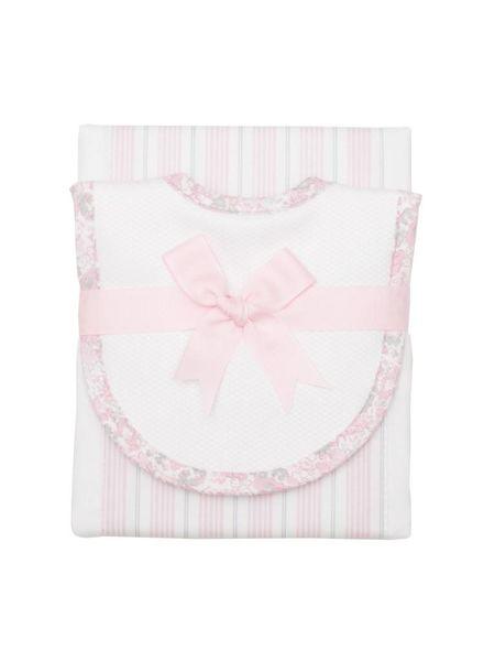 3 Marthas Pink & White Drooler Bib & Burp Set