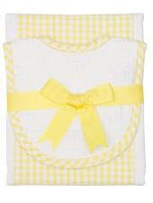 3 Marthas Yellow Gingham Drooler Bib & Burp Set