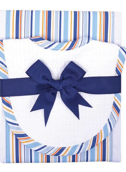 3 Marthas Blue Stripe Burp Cloth Drooler Set
