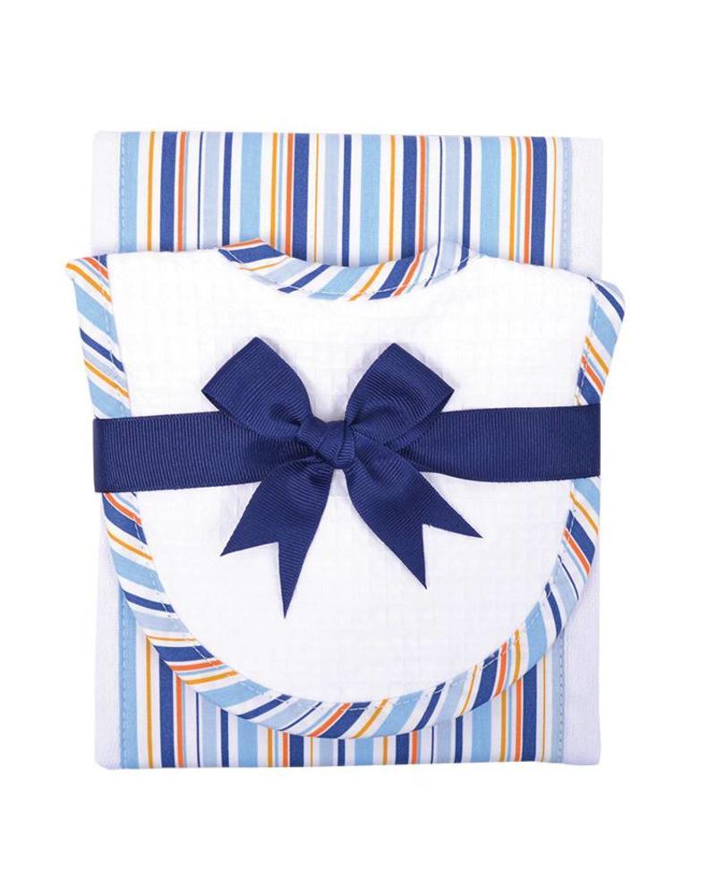 3 Marthas 3 Marthas Burp/Drooler Set - Blue Stripe