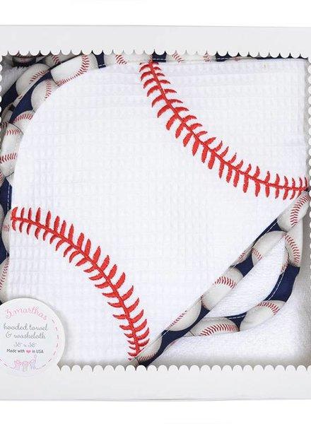 3 Marthas Baseball Applique Hooded Towel