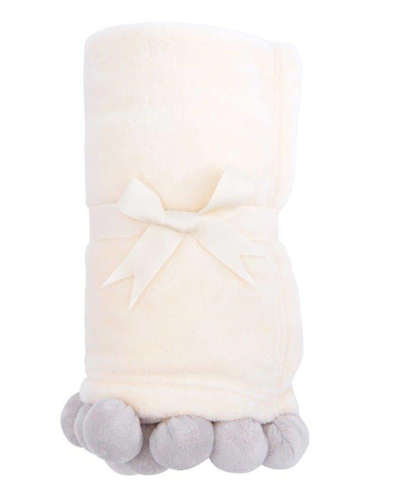 Elegant Baby Grey Pom Pom Blanket