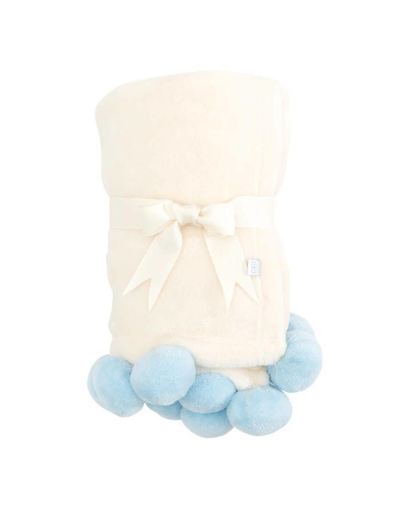 Elegant Baby Blue Pom Pom Blanket With Monogram