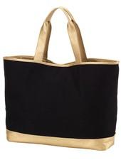 Wholesale Boutique Black & Gold Cabana Tote